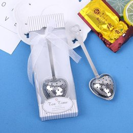 "Wholesale Tea Spoon Gifts - Gift Box ""Tea Time"" Heart Tea Infuser Heart-Shaped Stainless Herbal Tea Infuser Spoon Filter favors Party gift Heart-Shaped Strainer"