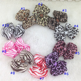 Wholesale Satin Bows Diy - New 3.5-4inch DIY printed animal satin hairbow for accessory zebra and leopard parttern hair bows for kids,30pcs lot..