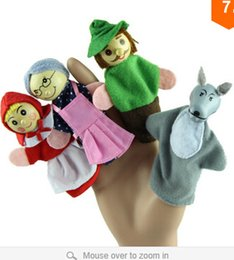 Wholesale Christmas Finger Puppets Story - Wholesale-Delicate 4PCS lot Little Hood Christmas Animal Finger Puppet Story Toys Hot Selling