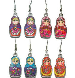 Wholesale Charms Doll Enamel - 50Pair Vintage Silver Enamel MATRYOSHKA RUSSIAN DOLL Charms Drop Dangle Chandelier Earrings For Woman Jewelry Fashion Gift Accessories S07