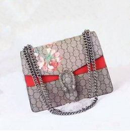 Wholesale Ladies Envelope - Newest style 30cm ladies casual fashion brand trend simple square cross section cover printing Floral Shoulder Bags handbag red chain bag