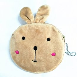 Wholesale Plush Rabbit Purse - Wholesale- M135 Cute Cartoon Personality Khaki Cute Rabbit Plush Coin Purse Wallet Card Bag Girl Women Student Gift Wholesale