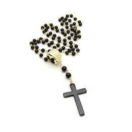 Wholesale Mens Rosaries - Wholesale- 2017 Hot Sale New Unisex Mens and Women Cross Pendant Necklace Black Rosary Beads Long Necklace Chain Jewelry Top Quality