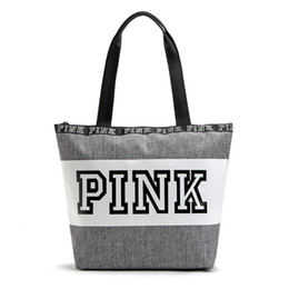 Wholesale Love Pink Large - Waterproof Pink Letter Girl's Handbags Outdoor Sport Shoulder Bags Women Love Large Capacity Travel Duffle Striped Beach Bag DHL Fedex Ship