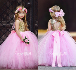 Wholesale Cute Cheap Tops - 2017 New Cute Top Gold Sequined Flower Girls' Dresses Hollow Back Pricess Puffy Tulle Ball Gowns Girls Pageant Gowns Cheap