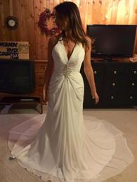 Deutschland Atemberaubende Mantel Chiffon Halfter Sommer Hochzeitskleid COR-828 Perlen Halfter Strand Brautkleid Robe De Mariage nach Maß Versorgung