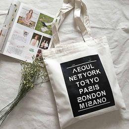 Wholesale Canvas Art Bag - Wholesale-women shoulder bags new fashion print English capital casual tote letter Literature and art hit color big canvas handbag,LB1700