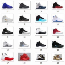 Wholesale Man Black Leather Shoes - 2017 man air retro 12 high quality Basketball Shoes for mens, taxi playoffs Gamma Blue black sport Retro 12s Sneakers shoe