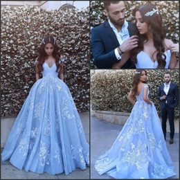 Wholesale Say Crystals - Ice Blue Arabic Dubai Off the Shoulder Evening Dresses 2017 Said Mhamad A Line Vintage Lace Prom Party Gowns Special Occasion Dresses