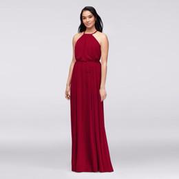 Wholesale Wedding Dresses Slim Line - NEW! Soft Chiffon Halter Bridesmaid Dress with Slim Sash F19533 Wedding Party Dress Evening Dress Formal Dresses