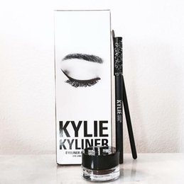 Wholesale Sets Gel Pens - Kylie cosmetics gel eyeliner Pen Eyebrow 1 set = eyeliner + brush + cream kylie Jenner kit bronze chameleon Kyliner Black Brown makeup sets