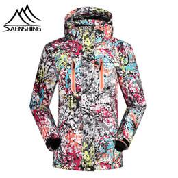 Wholesale Girls Coat Waterproof Down Jacket - Wholesale- SAENSHING 2016 ski jacket women winter snow waterproof windproof snowboard down coat graffiti print female jackets girl clothes
