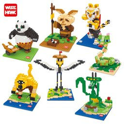 Wholesale Toy Crane Building Blocks - Wisehawk Diamond Blocks Kungfu Panda Toys master DIY Building Toys Crane Movie Character PO Action Figures Kids Gifts 2387-2393