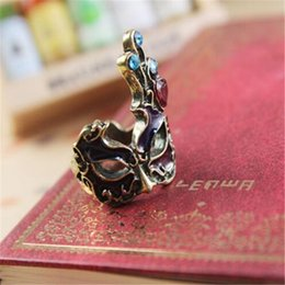 Wholesale Masquerade Rings - Gothic Mask Ring for Lady European And American Style Masquerade Mask Ring for Women Party Decoration
