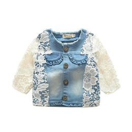 Wholesale Girls Cardigan Flowers Kids Outwear - New HOT Baby Girls Denim Coats Children Clothing Long Sleeve Flower Lace Girl's Jeans Outwear Flower Coat Cardigan Kids Jackets