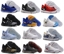 Wholesale Brown School Shoes - 2017 New Zoom KD 10 Anniversary PE Oreo Red Men Basketball Shoes KD 10 X Elite Low Kevin Durant Grade School Sport Sneakers