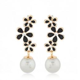 Wholesale Enamel Flower Drop Earrings - New Fashion OL Gold Color Enamel Flower Imitation Gemstone Pendants Dangle Earrings Drop Brincos for Women Men Jewelry