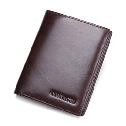 Wholesale Brown Leather Trifold Wallet - 2017 New Italian Leather Men Wallets High Quality Fashion Genuine Leather Purses Trifold Wallet With Photo Card Holder M1042