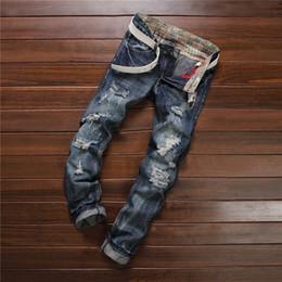 Wholesale denim capris for men - Wholesale- High quality men's jeans hole Casual ripped jeans men hiphop pants Straight jeans for men denim trousers