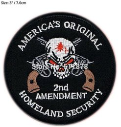 Wholesale Iron Patches Skulls - HOMELAND SECURITY 2ND AMENDMENT SKULL PISTOL NRA GUN Movie TV Series Embroidered iron on patch cosplay transfer COMICS APPLIQUE
