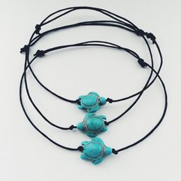 Wholesale Sports Rope Bracelets - 3 Pcs Women Fashion Beach Jewelry Simple Style Turquoise Turtle Anklets Cute Tortoise Black Rope Ankle Bracelets Barefoot Chain