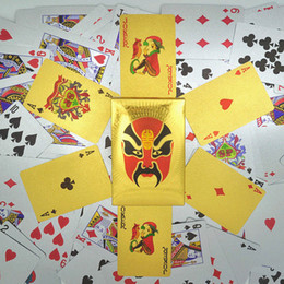 Wholesale Silver Chinese Masks - Perfect Gift Chinese Opera Masks Waterproof Playing Cards Durable Waterproof Arts Playing Cards 24K Silver Foil Plated Poker Card Games
