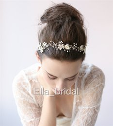Wholesale Pearl Hair Tie - Elegant Gold Silver Floral Hairbands Hot Pearl Crystal Hand Beaded Wedding Bridal Hair Accessories Headwear Headbands with Ribbon Tie Backs