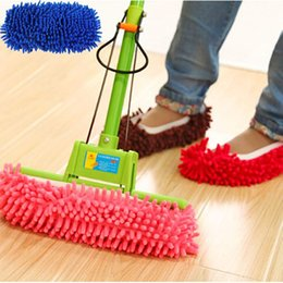 Wholesale Microfiber Floor Mops - 2017 New Multifunction Microfiber Chenille Floor Dust Cleaning Slippers Mop Wipe Shoes Wigs House Home Cloth Clean Cover Mophead Overshoe