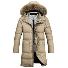 Wholesale Long Down Jackets For Men - Wholesale- Winter Men's Long Design Down Jackets Coats Mens Fashion Thick Warm Big Fur Collar Hooded Jacket for Men 90% White goose down