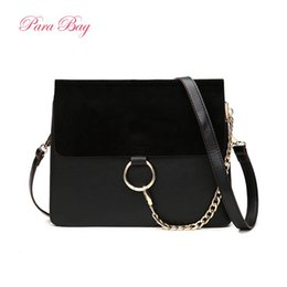 Wholesale Scrub Chain - Wholesale-2016 New Arrival Women Scrub Face Suede Buffed Leather Messenger Bags Ladies Flap Circle Ring Chain Crossbody Shoulder Bag