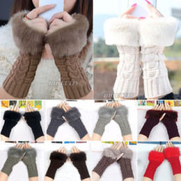 Wholesale Black Ladies Winter Gloves - 2017 Fashion Style Ladies Knitted Fingerless Winter Thermal Warm Hand Warmer Faux Rabbit Fur Mittens Luvas Women Gloves 10 Color