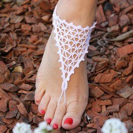Wholesale Face Sandal - Wedding Barefoot Sandals Beach Nude Shoes Yoga Chains Foot Anklets Bridal Lace Shoes Wedding Anklets Beach Wedding Crochet Jewelry
