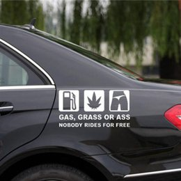 """Wholesale Reflective Car Stickers - 16X8cm Funny Car Sticker Reflective Vinyl Decal Car Window Bumper printed with\""""GAS GRASS OR ASS\"""" Words Auto Styling"""