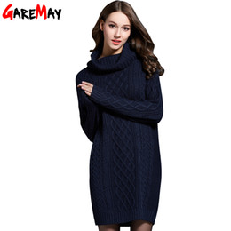 Wholesale Long Turtleneck Dress For Women - Wholesale-GAREMAY Women Sweater Turtleneck Pullover Women Sweater Dress Long Sweaters 2016 Spring White Casual Clothes For Women S061