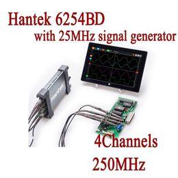 Wholesale Hantek Handheld Oscilloscope - Freeshipping 6254BD Osciloscopio Hantek PC Based Handheld Oscilloscope Digital 4Channels 250MHz USB Oscillograph with 25MHz Signal Generator