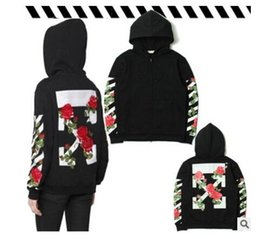 Wholesale White Rose Sweater - Autumn and winter new OFF WHITE kanye hip hop yeezus striped arrows rose hooded zippers men and women couples sweater coat