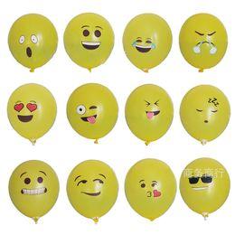"Wholesale Red Black Latex Balloons - 12"" Emoji Balloons Smiley Face Expression Yellow Latex Balloons Party Wedding Ballon Cartoon Inflatable Balls high quality"