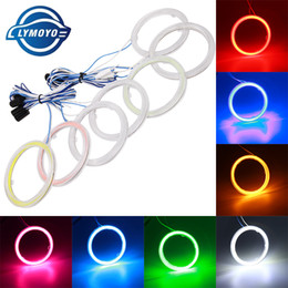 Wholesale Headlight Led Ring - Auto headlight COB Angel Eyes Halo Ring 60MM 70MM 80MM 90MM 100MM 110MM 120MM DRL Car Motorcycle With Lampshades 12V