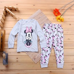 Wholesale Sweater Minnie - 2016 new girl children's children's clothing pajamas Minnie home service children's pajamas suit cartoon fashion sweater pajamas two-piece