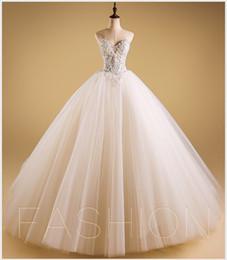Wholesale Strapless Rhinestone Corset Wedding Dress - 2017Luxurious Bling Strapless Wedding dresses Corset Bodice Sheer Bridal Ball Crystal Pearl Beads Rhinestones Tulle Wedding Gowns