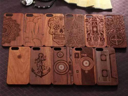 Wholesale Vintage Wooden Apple - New Arrival Retro Natural Vintage Walnut Wooden Case Cover for Iphone 6 6S Plus 4.7 5.5 inch 5S 5 Hard Wood PC Mobile Phone Cases in Stock