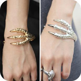 Wholesale Hawk Bracelet - Hot Punk Claws of a hawk Bangle Bracelet Gothic Gold Silver Plated Open Mouth Bangle Women's Fashion Bangle
