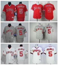 Wholesale Anaheim Angels Jersey Black - New Retro 5 Albert Pujols Jersey Los Angeles Angels Flexbase Baseball Jerseys Albert Pujols of Anaheim White Pullover Red Grey Camo