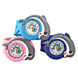Wholesale Toy Plastic Watches - Kids Hot Sale Cartoon Dolphin Digital Slap Watch Child Silicone Strap Wristwatches Casual Kid Watch Flap Ring Watch Toys Gifts