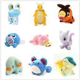 Wholesale Pokemon Plush Cyndaquil - Poke Pikachu Doll Plush Dragonite Marill Poliwag Slowpoke Phanpy Cyndaquil Froakie Tepig Mewtwo Stuffed Toys (9pcs Lot   Size: 11-22cm)