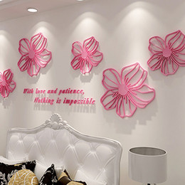 Wholesale 3d Rose Wall - Posters Crystal Rose Wall Stickers Acrylic Material Wallpaper Environmental Home Bedroom Office Decor Creative Style Wall Decals