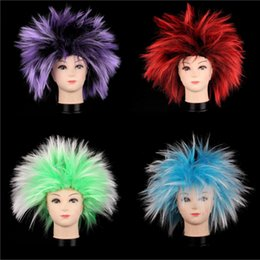Wholesale Order Black Wigs - New Game Fan Party Explosion Color Wig Bar Club Celebration Cosplay Color Wig 6 Color Wig Tool Mix Order Allowed