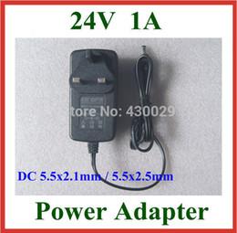 Wholesale Adapter Dc 24v 1a - Wholesale- 2pcs AC 100V-240V Converter Adapter to DC 24V 1A Power Supply UK EU US Plug 5.5x2.1mm   5.5x2.5mm Charger