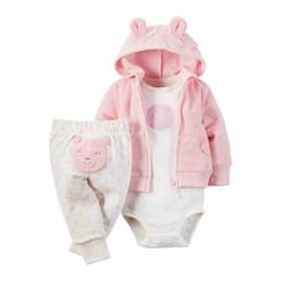 Wholesale Newborn Cardigans - Wholesale- 3pcs set Fashion Newborn Baby Girl Clothes Cute Cartoon Bear Bodysuit Pants Pink Cardigan Wear Suit Kit Children Winter Clothing