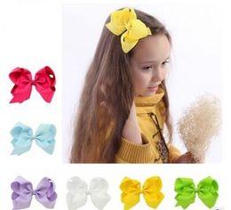 Wholesale White Fabric Headbands For Girls - Houtique hair bows baby hair headband 6'' big ribbon bows baby girls hair accessories for baby headband hair band princess-50pcs